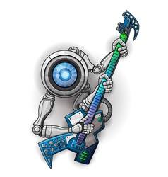 White robot with guitar isolated on white vector