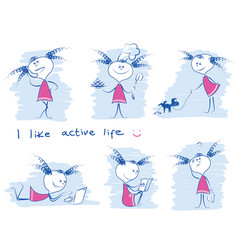 Young girl in variouse lifestyle doodle hand draw vector