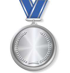 Champion silver medal with ribbon on white vector image vector image
