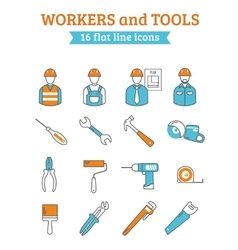 Construction workers tools line icons set vector image