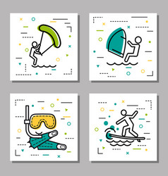 four sea water activity linear icons vector image vector image