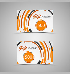gift voucher with abstract orange circles vector image vector image