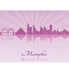Memphis skyline in purple radiant orchid vector image