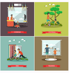 set of father concept square posters in vector image vector image