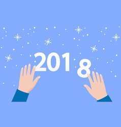 2018 numbers on blue background with snowflakes vector image