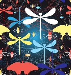 Beautiful graphic pattern different insects vector image vector image