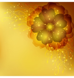 Golden floral invitation or greeting card vector