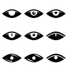 image of abstract eye icons in black and white vector image
