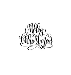 merry christmas - hand lettering black ink phrase vector image