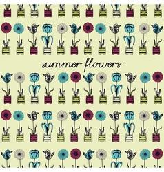 Retro Summer Flowers Pattern vector image vector image