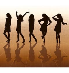 Silhouette of women posing vector