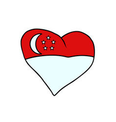singapore isolated heart flag on white background vector image vector image