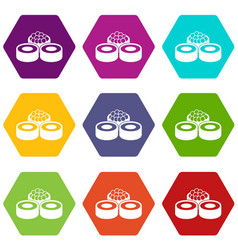 sushi icon set color hexahedron vector image vector image
