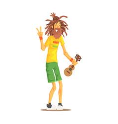 happy rastafarian guy with dreadlocks and little vector image
