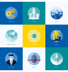 Icons of development strategy mission challenge vector image vector image