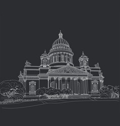 sketch of the cathedral in st petersburg vector image vector image