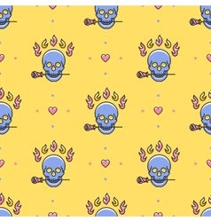 Skull seamless pattern Icons skull rose vector image vector image