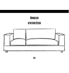 sofa with soft pillows in a contour on a white vector image