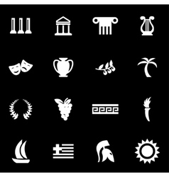 white greece icon set vector image vector image