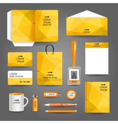 Yellow geometric technology business stationery vector