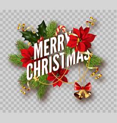 christmas decoration fir wreath bow golden bells vector image
