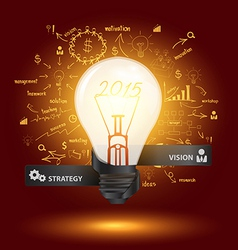 Creative light bulb with drawing charts and graphs vector image vector image