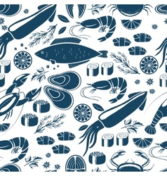 Fish sushi and seafood seamless background vector image