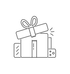 group of black thin line gift boxes vector image