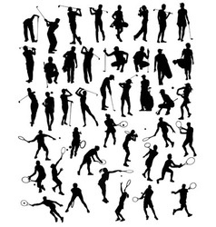 Silhouettes of Sporting Activities Tennis vector image vector image