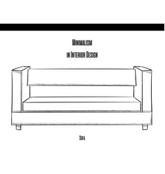 sofa with straight back in the contour on a white vector image vector image