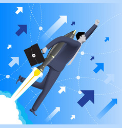 With the rocket speed business concept vector image vector image
