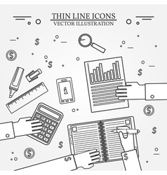 Accounting icon thin line for web and mobile moder vector image