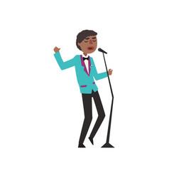 African american jazz singer wearing retro elegant vector