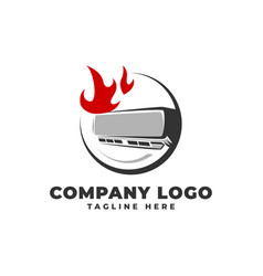 Air conditioner on fire logo icon vector