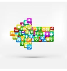 Application buttonSocial mediaCloud computing vector image