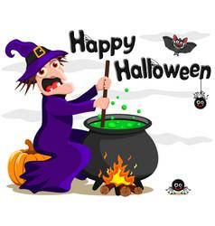 Baba yaga sits on a pumpkin and brews a potion vector