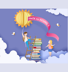Back to school card with boy books and sun vector