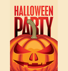 banner for halloween party with a pumpkin head vector image