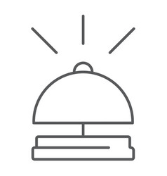 Bell thin line icon hotel and call reception vector