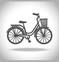 Bike with basket icon vector