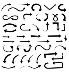 Black set arrows hand drawn doodle vector