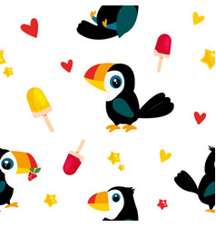 bright pattern with funny cartoon toucans vector image