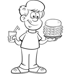 cartoon boy holding a drink and a large hamburger vector image