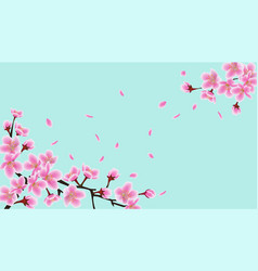cherry blossom tree branches with realistic vector image