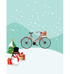 christmas bicycle vector image