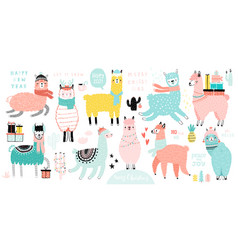 christmas set with cute llamas celebrating vector image