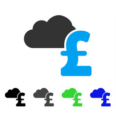 Cloud pound banking flat icon vector
