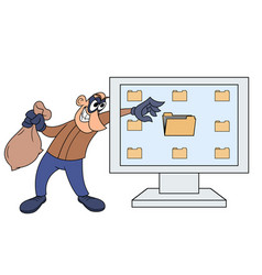 computer thief vector image