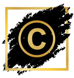 Copyright sign golden icon vector