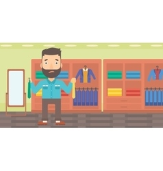 Customer choosing neckties vector